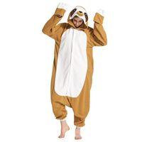 erwachsene fleece-overalls großhandel-Tier Onesie Erwachsene Sloth Pyjamas Cartoon Lustige Overall Frauen Overalls Große Größe Nachtwäsche Winter Fleece Party Anzug