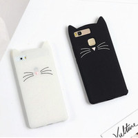Wholesale huawei silicone 3d for sale - Cute D Silicone Cartoon Cat Pink Black Glitter Soft Phone Case Cover Coque Fundas For Huawei P8 P9 P10 lite plus