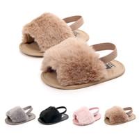 Wholesale slip sandals infants online - 2018Baby Infant Girls Soft Sole Shoes Plush Slide Sandal Summer Toddler Sandal Princess Non slip Crib Shoes