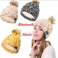Wholesale christmas ball music - Bluetooth Music Warm Soft Beanie Hat Wireless Cap Headset Headphone Speaker Smart Cap Ball Pom Pom Party Hats 3 Colors LJJO3878