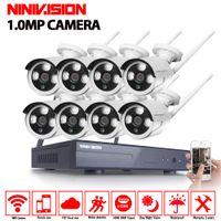 açık gece kablosuz güvenlik kamerası toptan satış-Tak Ve Çalıştır 8CH Kablosuz NVR Kiti P2P 720 P HD Açık IR Gece Görüş IP Video Güvenlik CCTV Kamera WIFI Gözetim sistemi