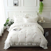 Wholesale Embroidered Satin Bedding Sets - 100% Cotton satin drill Modern Style White Pure long-staple cotton flouncing Exquisite embroidery 4pcs Bedding Queen and King Home Textiles