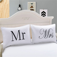 Wholesale Cotton Anniversary Gift - 2018 MR and MRS Pillow Case Couple Pillow Shams for Him or Her Christmas Romantic Anniversary Wedding Valentine's Gift