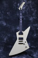 guitarra explorer blanca al por mayor-Rare Heavy Metallic James Hetfield MX-220 Signature Cream White Explorer Guitarra eléctrica EET FUK Diapasón Inlay, Copiar pastillas EMG,