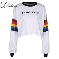ingrosso cime bianche in cotone-Weekeep bianco manica lunga arcobaleno stampato t shirt donna allentato o-collo lettere crop top streetwear tee shirt femme crop top