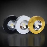 ingrosso contatori in alluminio-Lampada da soffitto LED ultrasottile con montaggio a superficie rotonda per faretti 5W Lampada da soffitto a LED in alluminio nero / dorato per bancone Wine Bar