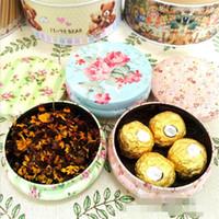 kutu kırık toptan satış-Pastoral Rüzgar Küçük Boy Yuvarlak Demir Kutusu Kırık Çiçek Serisi Şeker Kutuları Çok Amaçlı Çiçek Çay Çikolata Ambalaj 2 6gx ff