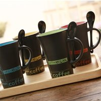 Wholesale Portable Paint - Gift Coffee Cup And Spoon Heat Resisting Fashion Hand Painted Mug Portable Multi Color 4 5cx C R