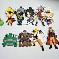 naruto llavero anime al por mayor-Naruto animado cosplay PVC llavero Uchiha Itachi Jiraiya Sasuke personaje de dibujos animados de moda de doble cara de goma suave Llaveros regalos