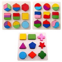Wholesale geometry puzzle - Kids Baby Wooden Toys Colorful 3D Puzzle Geometry Learning Montessori Educational Toys For Children Wood Toy Puzzles Gift