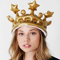 Wholesale gold stage props - Inflatable Gold Crown For Kids Adults Birthday Party Hats Toys Gift Stage Props Wedding Costume NNA115