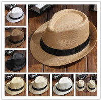 Wholesale boys summer fedora straw hat - fashion Men Women Straw Hats Soft Fedora Panama Hats Outdoor Stingy Brim Caps 8 Colors Choose 20 pcs