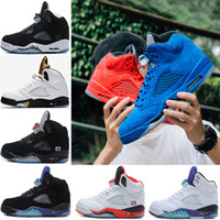Wholesale classic fire - Classic 5 5s Basketball shoes Men Sneakers OG Black Metallic fire red Blue Suede White Cement Oreo mens jogging trainer sports shoes 41-47