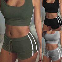 cinto de fitness para mulheres venda por atacado-GLANE Yoga 2 pcs Mulheres Belt Suit Set Acolchoado Sutiã Sem Mangas Tops + Shorts de Fitness Aptidão Correndo Yoga Ginásio Esportes