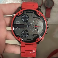 Wholesale mens digital watch leather band - Sports DZ Mens Watches Double pointer Big Dial Display 55mm Top Brand Luxury watch Quartz Watch Steel Band 7370 Fashion Wristwatches For Men