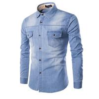 jeans 6xl achat en gros de-Chemises en jean Slim de haute qualité pour hommes nouveau plus la taille M-6XL mode décontracté lavage bleu à manches longues Cargo jeans chemises Chemise Homme