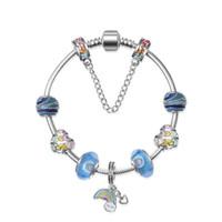 ingrosso fascini europei del rainbow-Argento 925 ciondolo arcobaleno per pandora bracciali europei perline di fascino braccialetto San Valentino e gioielli regalo fai da te con scatola