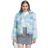 mavi kürk toptan satış-Yeni Moda Yüksek İmitasyon kürk Mavi Faux Kürk Ceket kısa Sonbahar Kış Giysileri Kadın Peluş hırka Coat