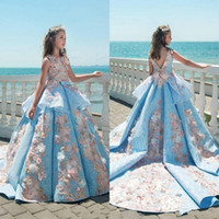 Wholesale Teenage Girls Yellow Dresses - 2018 Vintage Blue Lace Girls Pageant Dresses Ball Gown Children Birthday Party Dresses Teenage Princess Toddler Dresses Sweep Train BA8575