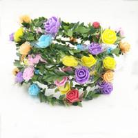 aros florais venda por atacado-Noiva Floral Coroa Flor Videira Simulação Artificial Folha Verde Weave Headband Espuma Partido Disfarce Ornamento Do Cabelo Cabeça Hoop 1 54 pcs UU