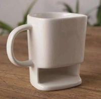 porta-copos de café para escritório venda por atacado-Caneca de cerâmica Biscoitos De Café De Leite Sobremesa Cup Xícaras De Chá De Armazenamento De Fundo para Biscoitos Biscoitos Pockets Titular Para Home Office