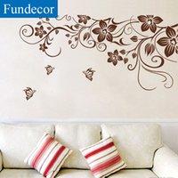ingrosso decorazioni farfalle marrone-[Fundecor] FAI DA TE farfalla marrone fiore vite wall stickers home decor soggiorno frigo art decalcomanie della parete decorazione d'interni