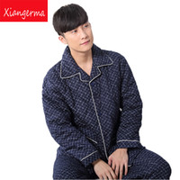 Wholesale sleepwear men long sleeve cotton - Xiangerma Winter Pure Cotton Pajama Set Men's Sleepwear Suits Casual Men Sleeping Cloth 100% Cotton Long Sleeve Pajamas