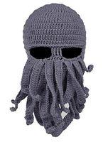 ahtapot maske yünü toptan satış-Kış Sıcak Cadılar Bayramı Ahtapot Örme Yün Yüz Şapka Siyah Gri Olay Parti Örme Kalamar Kap Serin Şapka Maske