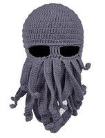 Wholesale octopus mask wool for sale - Group buy Winter Warm Halloween Octopus Knitted Wool Face Hat Black Gray Event Party Knitted Squid Cap Cool Hat Mask