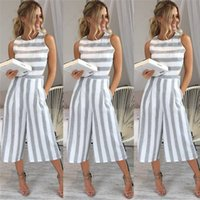 b876f03a4a6e Summer Rompers Women s Jumpsuit Sexy Casual Sleeveless Elegant Striped Wide  Leg Pants Playsuits Overalls Trousers Plus Size