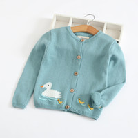 вязаный свитер детский моделей оптовых-INS стили новый горячий продавать девушка дети весна осень с длинным рукавом чистый хлопок кардиган кролик цыпленок утка шаблон вязаный свитер для детей