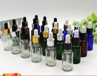 ingrosso bottiglie di vetro marrone bottiglie-Confezione da 20ml trasparente blu verde marrone bottiglia di olio di plastica testa contagocce bottiglia di olio essenziale contagocce