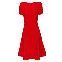 falda roja acampanada al por mayor-Vender inventario a bajo precio vestido de vendaje de moda clásica Red falda acampanada cuello redondo manga corta vestido de fiesta vestido de noche