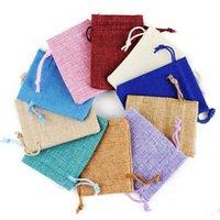 pequenos sacos de corda de casamento venda por atacado-17 * 23 cm Multi Cores Mini Bolsa de Juta Saco de Linho Cânhamo Pequeno Sacos de Cordão Anel Colar de Jóias Bolsas de Casamento Favores Do Presente Embalagem