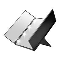 ingrosso i riflettori del dressing hanno condotto le luci-Nuovo arrivo Vanity Folding Travel Illuminated Make up specchio Dressing Desktop Mirror W 8 LED Light