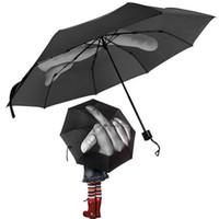 Wholesale finger fold - Middle Finger Umbrella Rain Windproof Up Yours Umbrella Creative Folding Parasol Fashion Impact Black Umbrella OOA4505