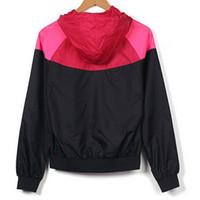 suits women achat en gros de-Livraison gratuite Nouveau Costumes de Jogging Sport NWT Femme Veste De Sport À Capuche Coupe-Vent Respirant et 3 couleurs Patchwork Sport Coupe-Vent