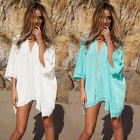 2f9afc1affd5c Fahsion Summer Bikini Cover Ups Solid White Crochet Beach Women Beachwear  Sexy V Neck Long Sleeve Hollow Out Sunscreen Bikinis Top Shirt