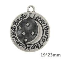 mücevher aya geri toptan satış-Antik Aya Seni Seviyorum ve Geri Takı Yapımı için Charms Çinko Alaşım Metal Çift Taraflı Kolye