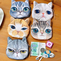 Wholesale Mini Pussy - HOT Cat Coin Purses Clutch Purses Dog Purse Bag Wallet Change Purse Meow star Kitty Small Bags Pussy Wallet Holders