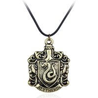 Wholesale cheap bronze necklace for sale - Hot Movie Hogwarts Slytherin School Badge Antique Bronze Vintage Rope Leather Necklace Cheap Snake Pendant Necklace