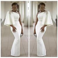 fildişi kılıf balo elbisesi toptan satış-Beyaz Fildişi Siyah Kızlar Kılıf Mermaid Uzun Gelinlik Modelleri 2018 Boncuklu Bir Omuz Örgün Abiye Elbiseler Parti Törenlerinde Özel