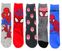 ingrosso personaggi dei cartoni animati freddi-5 paia / lotto Nuovi Calzini da uomo in cotone USA Classici Anime Cartoon Spiderman Calzino Calzini da donna caratteristici Calzini da caviglia