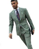 grüne lycrahose großhandel-Neueste Coast Pants Fashion Green Zwei Stücke Hochzeitsanzüge Abendgesellschaft Geschäftsleute Nach Maß Klassischen Stil