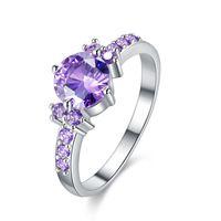 ingrosso anelli di fidanzamento ametista anelli bianchi-Fashion Rings Size 6/7/8/9 Purple Ametista Cubic Zirconia placcato oro bianco gioielli di fidanzamento