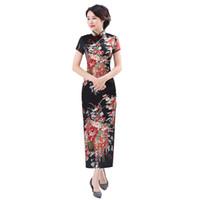 Shanghai Story Long Qipao Satin Cheongsam cinese tradizionale abito manica  corta in seta sintetica lungo abito cinese 18f8dbeebea