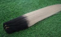 sarışın saç telleri toptan satış-Ombre Perulu Saç Düz Saç Demetleri 1 ADET 1B / 613 ombre Sarışın Remy İnsan Saç Uzantıları 10-26 Inç