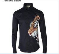 camisas de tigre de moda al por mayor-Envío Gratis 2018 Nueva Llegada de Moda 3D Cabeza de Tigre Digital Impreso Diseño Famoso Europeo y Americano Estilo Joven Mens Camisa Casual