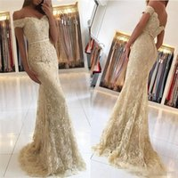 Discount prom dress cover jacket - Elegant Lace Champagne Evening Dresses 2018 Mermaid Off Shoulders Appliques Sequins with Buttons Back Women Occasion Prom Bridesmaids Gowns
