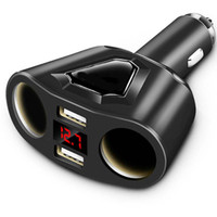 Wholesale android 4.2 tablet for sale - Winsun A Dual USB Car Charger with Cigarette Lighter Sockets W Power Support Display Current Volmeter for Phone Tablet GPS DVR
